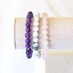 Serenity Crystal Bracelet Set - Howlite, Amethyst, Rose Quartz